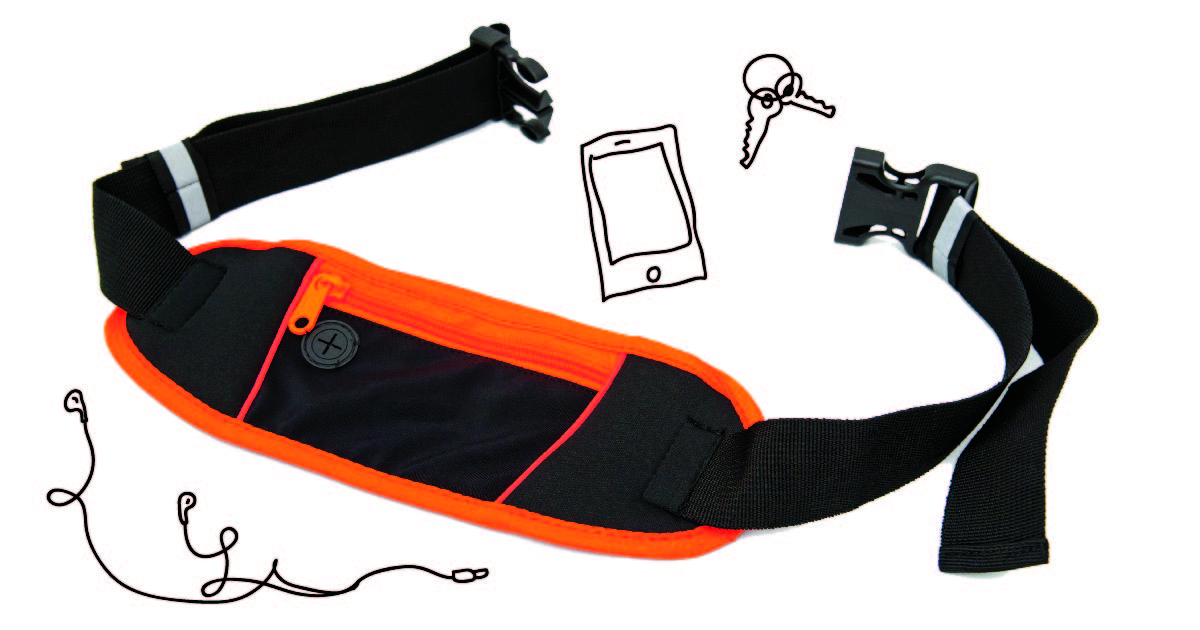 A black and orange running belt with illustrations of keys, a phone, and earbuds drawn around it.